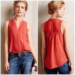 Anthropologie Meadow Rue Red Lace Jenson Top